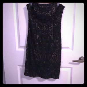 Sue Wong black Lace and beads strapless dress
